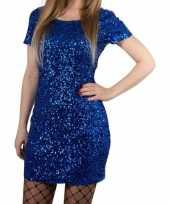 Originele toppers blauwe glitter pailletten disco carnavalskleding one size dames