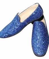 Originele toppers blauwe glitter pailletten disco instap schoenen heren carnavalskleding