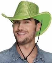 Originele toppers groene cowboyhoed howdy pailletten volwassenen carnavalskleding