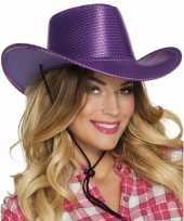 Originele toppers paarse cowboyhoed howdy pailletten volwassenen carnavalskleding