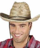 Originele toppers rieten cowboyhoed dallas volwassenen carnavalskleding