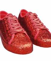 Originele toppers rode glitter disco sneakers schoenen dames carnavalskleding
