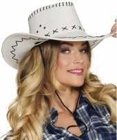 Originele toppers witte cowboyhoed elroy lederlook volwassenen carnavalskleding