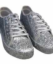 Originele toppers zilveren glitter disco sneakers schoenen dames carnavalskleding
