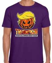 Originele trumpkin make halloween great again t shirt paars heren carnavalskleding
