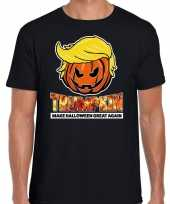 Originele trumpkin make halloween great again t shirt zwart heren carnavalskleding