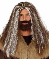 Originele viking pruik bruin grijs heren carnavalskleding