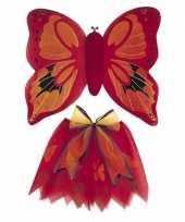 Originele vlinder vleugels verkleed set rood kinderen carnavalskleding