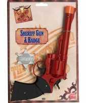Originele western pistolen zilveren badge carnavalskleding