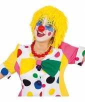 Originele wollen clown pruiken geel carnavalskleding