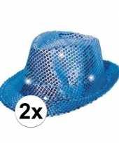 Originele x pailletten hoedjes blauw led licht carnavalskleding
