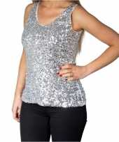 Originele zilveren glitter pailletten disco topje mouwloos shirt dames carnavalskleding