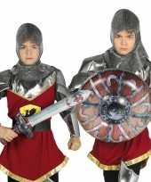Originele zilveren ridder set opblaasbaar carnavalskleding 10099569