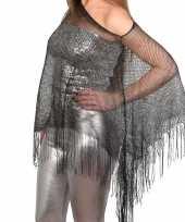 Originele zilveren visnet poncho omslagdoek stola dames carnavalskleding