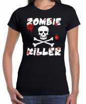 Originele zombie killer halloween t-shirt zwart dames carnavalskleding