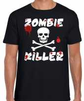 Originele zombie killer halloween t-shirt zwart heren carnavalskleding
