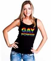Originele zwart gay power tanktop dames carnavalskleding