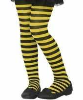 Originele zwart gele verkleed panty kinderen carnavalskleding