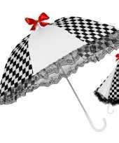 Originele zwart witte paraplu een rode strik carnavalskleding