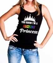 Originele zwart you know i am a fucking princess tanktop dames carnavalskleding
