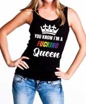 Originele zwart you know i am a fucking queen tanktop dames carnavalskleding