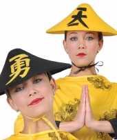 Originele zwarte aziatische verkleedhoed volwassenen carnavalskleding