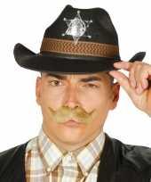 Originele zwarte cowboy verkleedhoed heren carnavalskleding