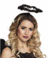 Originele zwarte engel verkleed diadeem tiara halo carnavalskleding