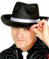 Originele zwarte gangster maffia trilby gleufhoed volwassenen carnavalskleding