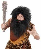 Originele zwarte holbewoner baard snor carnavalskleding