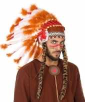 Wit oranje originele indianen tooi heren carnavalskleding